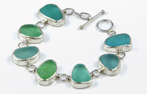 Chunky green sea glass and silver bracelet