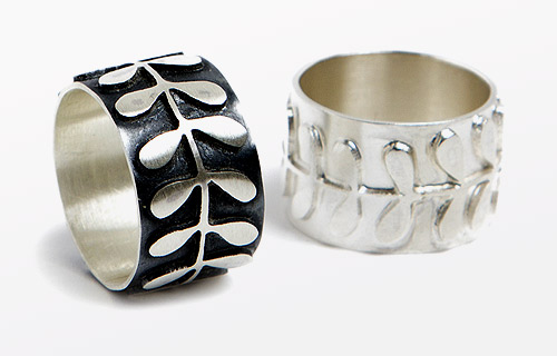 Flower stem rings, 14mm wide band in silver & oxidised silver