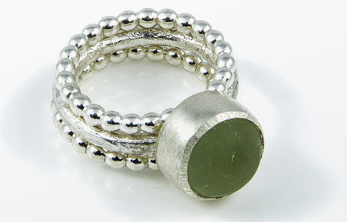 Chunky sea glass stacking ring